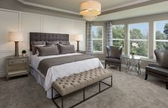 MASTER BEDROOM - NEEDS TWO SITTING TALL CHAIRS AND ROUND TABLE BETWEEN Castleton - Hawthorn Hills - The Bradbury Series by Pulte Homes - Zillow
