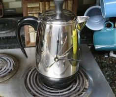 Coffee Pot Clock Kitchen Clock Girlfriend Gift Vintage by RayMels