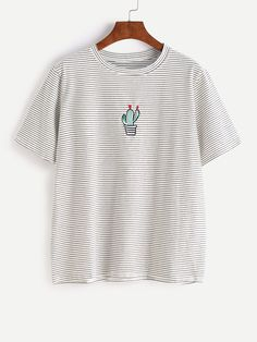 Shop White Pinstripes Potted Embroidered T-shirt online. SheIn offers White Pinstripes Potted Embroidered T-shirt & more to fit your fashionable needs.