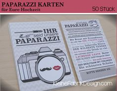 50 PAPARAZZI KARTEN für Eure Hochzeit Beige/Rot von KleineFabrik auf DaWanda.com