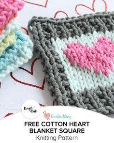 Knit by Bit: free Cotton Heart blanket square knitting pattern on LoveKnitting
