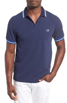 Fred Perry Extra Trim Fit Tipped Microdot Piqué Polo  43749a66cfb93