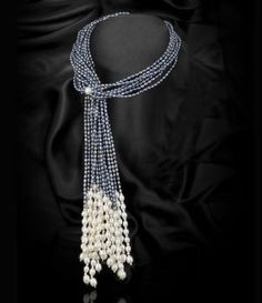 GREY MULTI-STRAND SCARF FRESHWATER PEARL NECKLACE