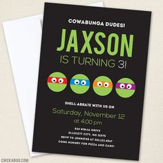 Chickabug - Teenage Mutant Ninja Turtles Party Invitations - Black , $30.00 (http://www.chickabug.com/teenage-mutant-ninja-turtles-party-invitations-black/)