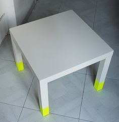 I see you have a Lack Side Table from Ikea. Love this redux of one. Paint it a solid color and paint the bottom of the legs neon for a little pop. or, paint black and put metallic gold around the legs -- would go better with our decor that way =) Furniture Update, Furniture Design, Dipped Furniture, Ikea Lack Table, Home And Deco, Interior Inspiration, Diy Design, Decoration, Ikea Paint