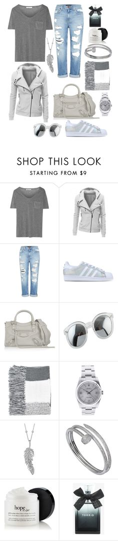 """Untitled #2"" by p-frost ❤ liked on Polyvore featuring T By Alexander Wang, Genetic Denim, adidas Originals, Balenciaga, Topshop, Rolex, Penny Preville, Cartier and Torrid"