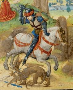 St George and the Dragon, c.1471, Lieven van Lathem; (MS 37 FOL 67V). (J Paul Getty Museum)