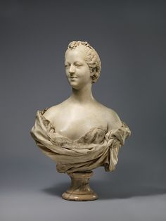 Madame de Pompadour (1721–1764) marble bust completed in 1751 when Madame de Pompadour was twenty-seven years old. It was probably meant for her residence château de Bellevue, which was finished the same year.