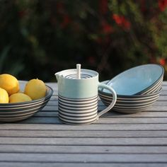 Welcome to Sue Ure's ceramics workshop. English woman living in Gascony, she exports her renowned craftsmanship all over the world. Ceramic Workshop, Summer Stripes, Ceramics, Tableware, Beautiful, Home, Design, Ceramica, Pottery