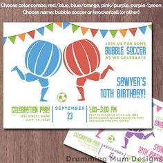 Bubble Soccer Ball Birthday Party Invitation Invite
