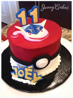 Pokemon cake! Chocolate fudge espresso cake drizzled with maple vanilla bean syrup and filled with Nutella. Iced with real buttercream and custom fondant details with name in the Pokémon logostyle. #JennyCakesLA #pokemon #pokemoncake #greninja #greninjacake #buttercream #fondant #eleventhbirthday #celebrate #share