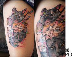 tatuaje kpo | by ARTKPONE New Tattoo Styles, New Tattoos, Animals, Portrait, Gatos, Tattoo, Animaux, Animal, Animales
