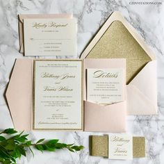 This Blush Pink and Gold Glitter Pocket Wedding Invitation is the perfect mix of classic and modern. The invitation is printed with gold ink, on 4.5x6.5 Cream card stock and mounted to a Gold Glitter Mat. The Pocket and both envelope are a light blush pink. The glitter card stock is super sparkly, heavy duty, and best of all it doesnt flake! It is available in mats, belly bands, and envelope liners, as shown. All of our envelope and paper colors are customizable to coordinate with your big…