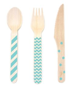 Loving this Diamond Blue Stamped Wooden Cutlery - Set of 36 on #zulily! #zulilyfinds