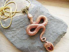 Snake Pendant- handmade ooak necklace polymer clay gemstone fantasy cosplay victorian gothic Hidden Treasury