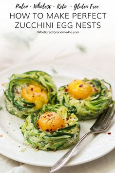 How to Make Perfect Zucchini Egg Nests (Paleo, Keto) Learn how to make the perfect zucchini egg nests that are sturdy, easy, and so yummy! They are a healthy breakfast item that's paleo, and keto-friendly. Gluten Free Recipes For Breakfast, Paleo Breakfast, Whole 30 Recipes, Brunch Recipes, Paleo Recipes, Real Food Recipes, Zucchini Breakfast, Breakfast Buffet, Paleo Food