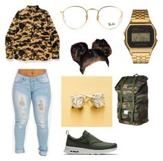 """Goldie"" by princesskdot ❤ liked on Polyvore featuring NIKE, Ray-Ban, G-Shock and Herschel Supply Co."