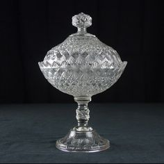 "EAPG ""Fine Cut and Block"" pattern Covered Compote made by King Son & Co circa 1886, 7 7/8""D x 12""H (7.5""H without lid)"