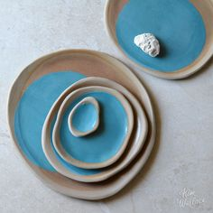 Pebble plate ~ aqua on natural, Handmade Australian Ceramics - KW Ceramics