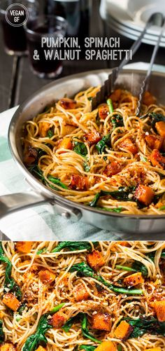This simple pumpkin, spinach and walnut spaghetti makes an ideal mid-week dinner. It's light, quick to prepare and tastes delicious. It's vegan and can be made (quick dinner meals spaghetti squash) Veggie Recipes, Pasta Recipes, Whole Food Recipes, Cooking Recipes, Healthy Recipes, Fall Recipes, Spaghetti Recipes, Pumpkin Recipes Healthy Dinner, Autumn Recipes Dinner