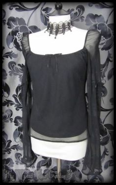 Romantic Goth Black Sheer Bell Sleeve Gypsy Wench Top 8 10 Gothic Maiden   THE WILTED ROSE GARDEN on eBay // Worldwide Shipping Available