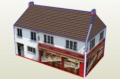 French Bakery Paper Model In HO Scale - by Keroliver - via Le Forum En Papier  ==          By French designer Keroliver, here is a little bakery paper model in HO scale (1/87 scale), originally posted at Le Forum En Papier. Perfect for dioramas or train sets.