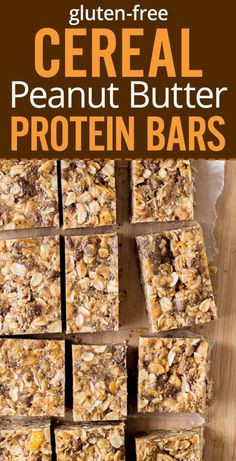 Quick and healthy Peanut Butter Cereal Bars Cereal oats peanut butter honey chia flax seed Gluten free vegan protein and nutrient rich breakfast Homemade protein bars re. Peanut Butter Protein Bars, Vegan Protein Bars, Protein Bar Recipes, Healthy Peanut Butter, Homemade Protein Bars, Protein Foods, Snacks Homemade, Homemade Cereal Bars, Healthy Cereal Bars