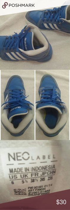 Adidas Neo Raleigh Mid Blue suede Adidas with white stripes. Mid rise. Some wear on bottoms. adidas Shoes Sneakers