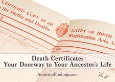 Death Certificates: Your Doorway to Your Ancestor's Life