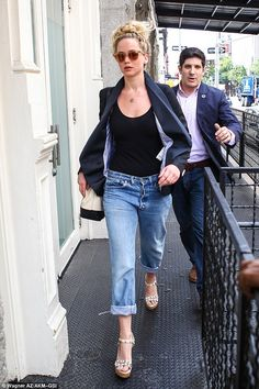 On the hunt: Jennifer Lawrence was back to business as she was spotted apartment hunting i...