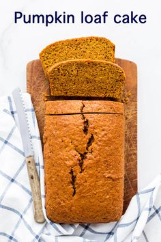 This easy spiced pumpkin loaf cake recipe is made with canned pumpkin yielding a moist pumpkin bread flavoured with cinnamon, nutmeg, ginger, and cloves Pumpkin Loaf, Moist Pumpkin Bread, Spiced Pumpkin, Baked Pumpkin, Pumpkin Cookies, Pumpkin Dessert, Pumpkin Recipes, Fall Recipes, Sweet Recipes