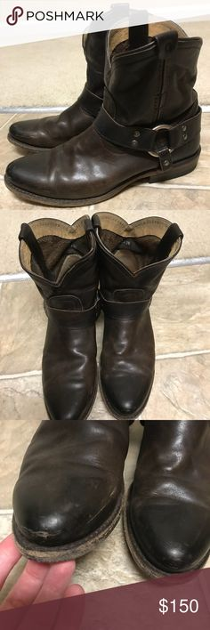 """Frye Women's Wyatt harness short ankle boot, slate Size 7m 100% Leather Imported Leather sole Shaft measures approximately 6.5"""" from arch Heel measures approximately 1"""" Boot opening measures approximately 12"""" around Ankle-high harness boot with scalloped topline and lightly burnished finish Dual pull-on loops Piping topline Frye Shoes Ankle Boots & Booties"""
