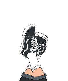 Laidback Vans Graphic Hoodie by - Unisex Pullover Black - MEDIUM - Front Print - Pullover Simple Canvas Paintings, Canvas Art, Van Drawing, Black And White Vans, Girly Drawings, Tumblr Stickers, Pics Art, Cartoon Art, Framed Art Prints