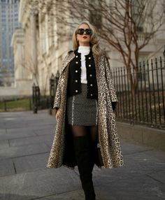 I've styled a head-to-toe look comprised of Intermix's transitional essentials that you can easily style and incorporate into your weekly wardrobe. Black And White Cardigans, Leopard Print Coat, Tweed Mini Skirt, Tights And Boots, Nyc Fashion, Fashion Essentials, Knit Jacket, Transitional Style, Look Chic