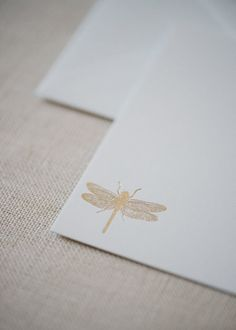 Dragonfly Foil Note Cards  / Gold Foil Dragonfly Cards / Note Card Gift Set…