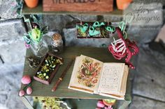Handmade one of a kind Harry Potter Herbology table Miniature. Made to 1:12 or one inch scale. Lots of magical creatures and plants. Very cute gardening table.  For sale