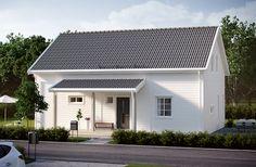 Villa Vimmerby är ett hus med förhöjt väggliv om 140,6 m2. Entrévåningen har en rymlig hall med möjlighet till mycket praktisk förvaring, klassiskt kök och ett stort vardagsrum som har plats för både matplats och soffgrupp. När du inreder övervåningen får du lätt plats med två barnsovrum, allrum och ett stort föräldrasovrum. Tack vare det förhöjda vägglivet får övervåningen större golvyta och högre takhöjd. #smålandsvillan #villavimmerby #hus #bygganytt #nybyggnation #inspiration… Veranda Pergola, Roof Eaves, Dream Garden, Canopy, My House, Entrance, House Plans, Entryway, Shed