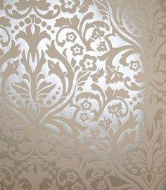 Baroque creme metal wallpaper