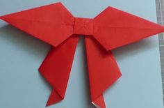 Let's create: Paper Bow Tutorial Oragami Bow, Origami Star Box, Origami Fish, Origami Folding, Origami Stars, Origami Design, Bow Tutorial, Origami Tutorial, Origami Love Heart