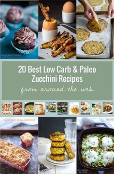 20 of the best low carb and or Paleo zucchini recipes from around the web! From Breakfast to Dessert Recipes there is something for every occasion! Paleo Zucchini Recipes, Gluten Free Recipes, Low Carb Recipes, Healthy Recipes, Healthy Eats, Paleo Ideas, Raw Recipes, Recipies, Atkins Recipes