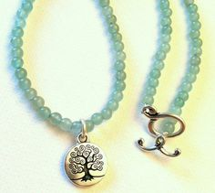 Green Aventurine Beaded Necklace with Tree by Jennasjewelrydesign,