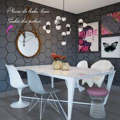 Revestimento hexagonal da linha Luna, da Senhor das Pedras, neste projeto de sala de jantar para uma estudante de moda (Foto: Camilla Iampolsky)