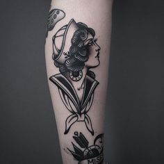 Sailor Girl Tattoo by Tony Nilsson SailorGirl traditional classictattoos TonyNilsson