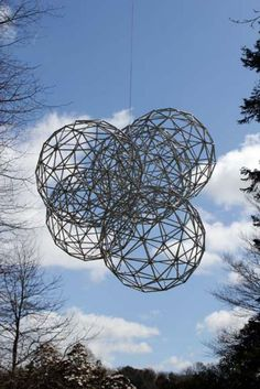 Sculpture: 'Interactions (4 Round garden/Yard Spheres Ball Wire suspended statue)' by sculptor Will Carr in Abstract Contemporary or Modern ...