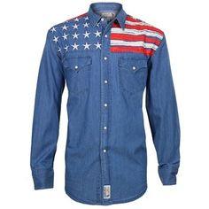 Panhandle Slim Men's Denim Flag Long Sleeve Western Shirt