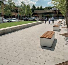 Marshalls: Paving, kerbs and furniture revitalise business park 2 of 4 Concrete Paving, News Cafe, Marshalls, Urban Design, Car Parking, Landscape Design, Entrance, Business, Furniture
