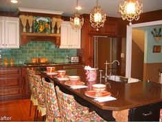 Anna Maria Horner's kitchen.  Love her style and love that awesome tile backsplash!