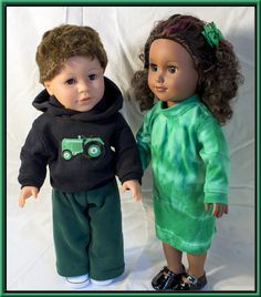 "American Girl & Boy Dolls fit these John Deere Green 18"" Doll Outfits. Sweatsuit with John Deere Tractor, Kelly Green Tie Dye T-Shirt Dress!"