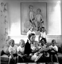 Ethel Kennedy and seven of her children...