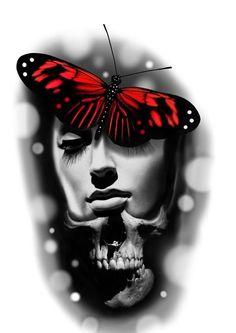 Head Tattoos, Badass Tattoos, Sleeve Tattoos, Temp Tattoo, Big Tattoo, Girl Face Tattoo, Tattoo Sketches, Tattoo Drawings, Tattoo Studio